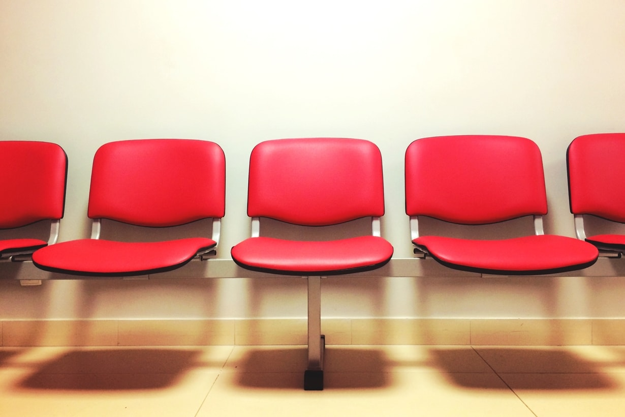 Modern red seats in a waiting room