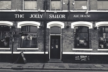 The Jolly Sailor Ale House Black and White Photo of Entrance to Pub